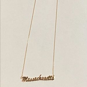Charming Charlie Gold Massachusetts Necklace New